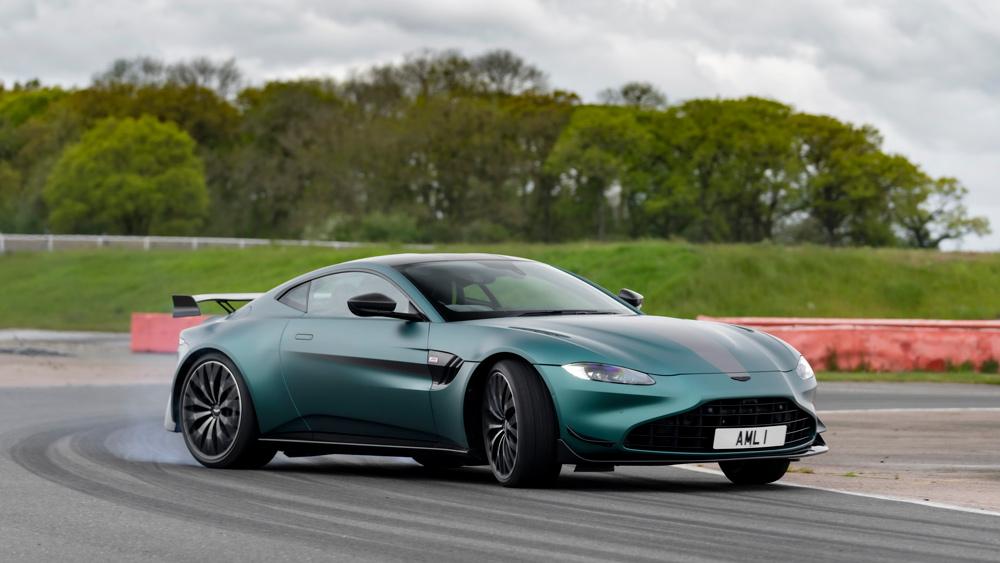 The Aston Martin Vantage F1 Edition on track.