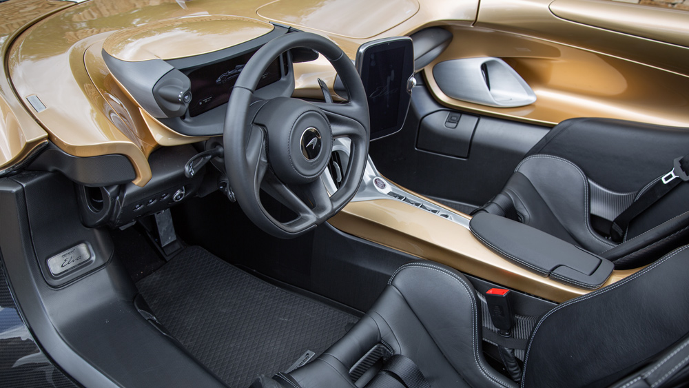 The cockpit of the McLaren Elva supercar.