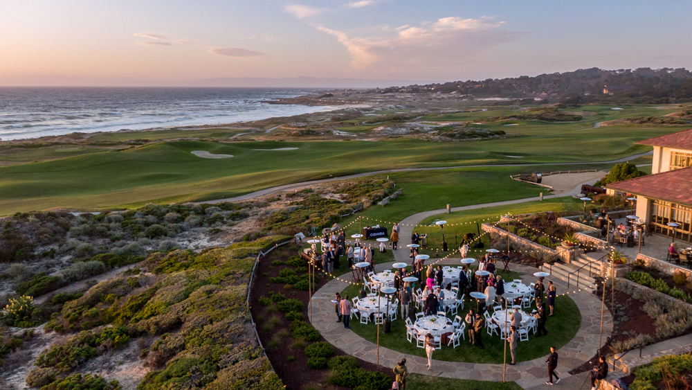 Dining at dusk on the lawn of the Inn at Spanish Bay in Pebble Beach.
