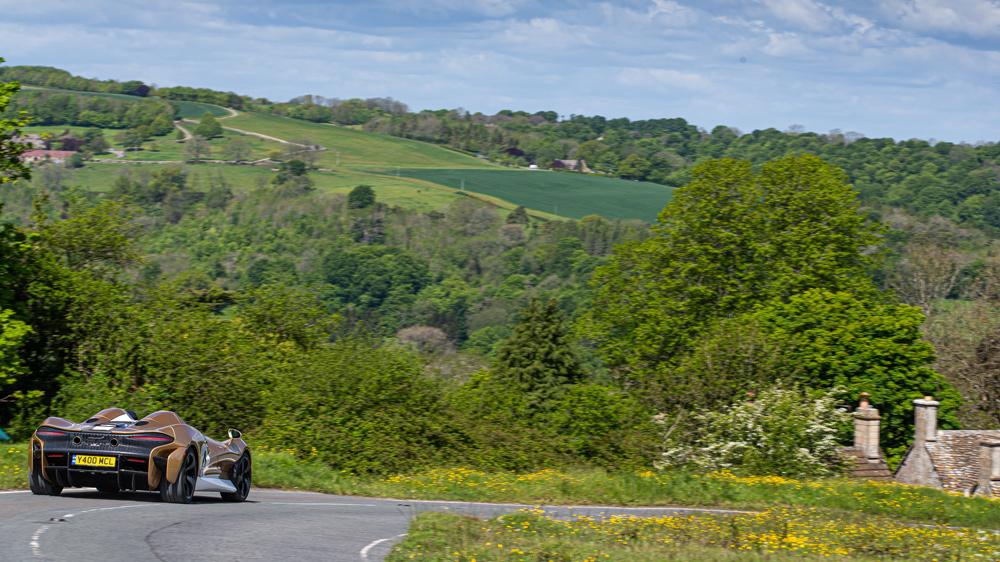 Driving the McLaren Elva supercar in England.