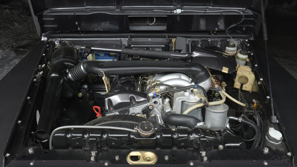 The inline-five diesel engine inside a Mercedes-Benz G-Wagen Wolf restomod from Expedition Motor Company.