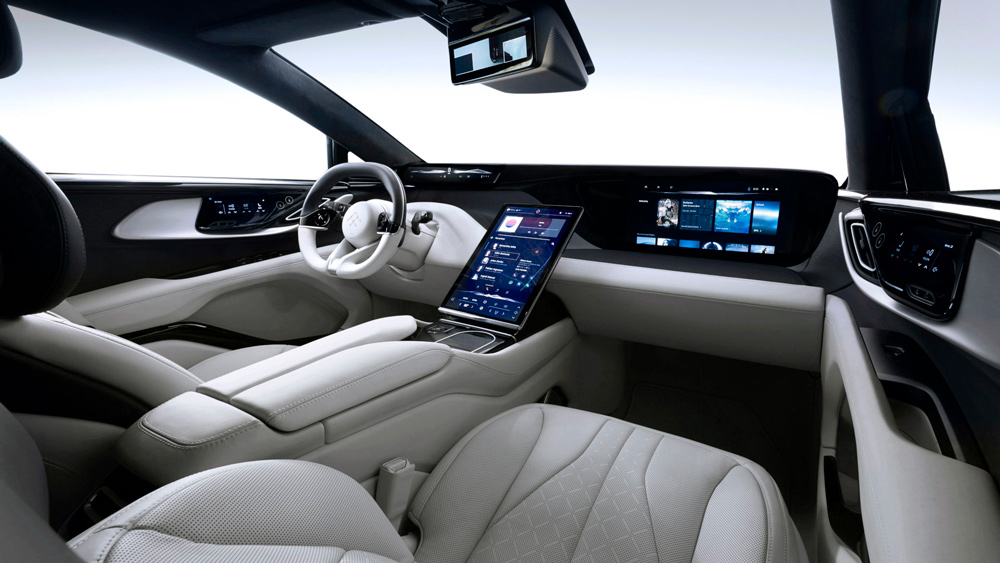 The interior of the 1,050 hp, all-electric Faraday Future FF 91.