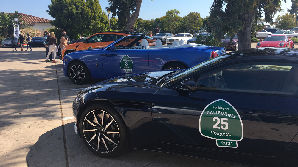 Cars entered in Robb Report's 2021 California Coastal road rally.