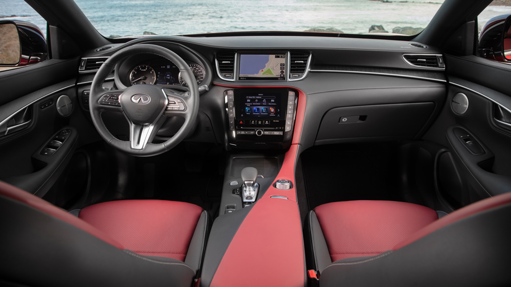 The interior of the 2022 Infiniti QX55 crossover coupe.