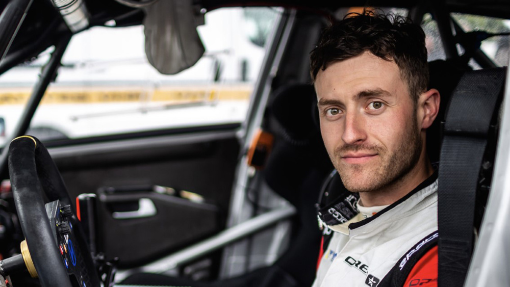 A promotional picture of racer Raphael Astier, who will be competing for BBI Autosport in the 2021 Pikes Peak International Hill Climb.