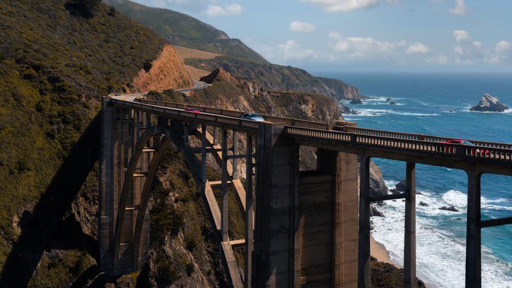 Crossing Bixby Bridge on Pacific Coast Highway toward Carmel, Calif.