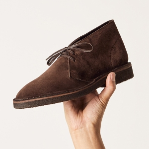 The MTO desert boot in chocolate suede and a dark crepe sole.