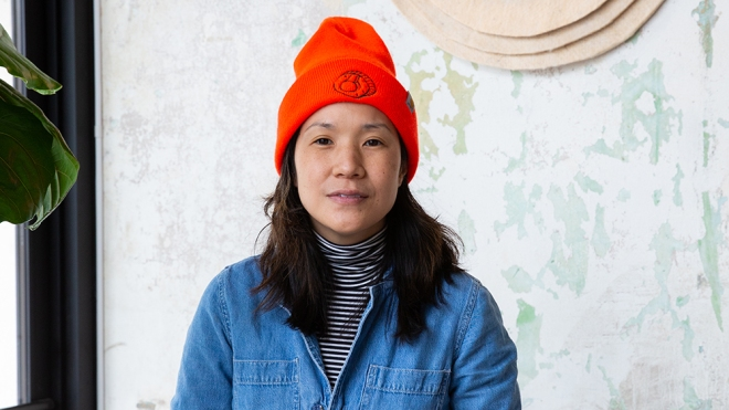 Chef Beverly Kim at her restaurant Wherewithall in the Avondale neighborhood of Chicago. Thursday, April 29, 2021.