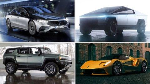 Clockwise from top left: 2022 EQS from Mercedes, Tesla Cybertruck, Lotus Evija, GMC HUMMER EV SUV