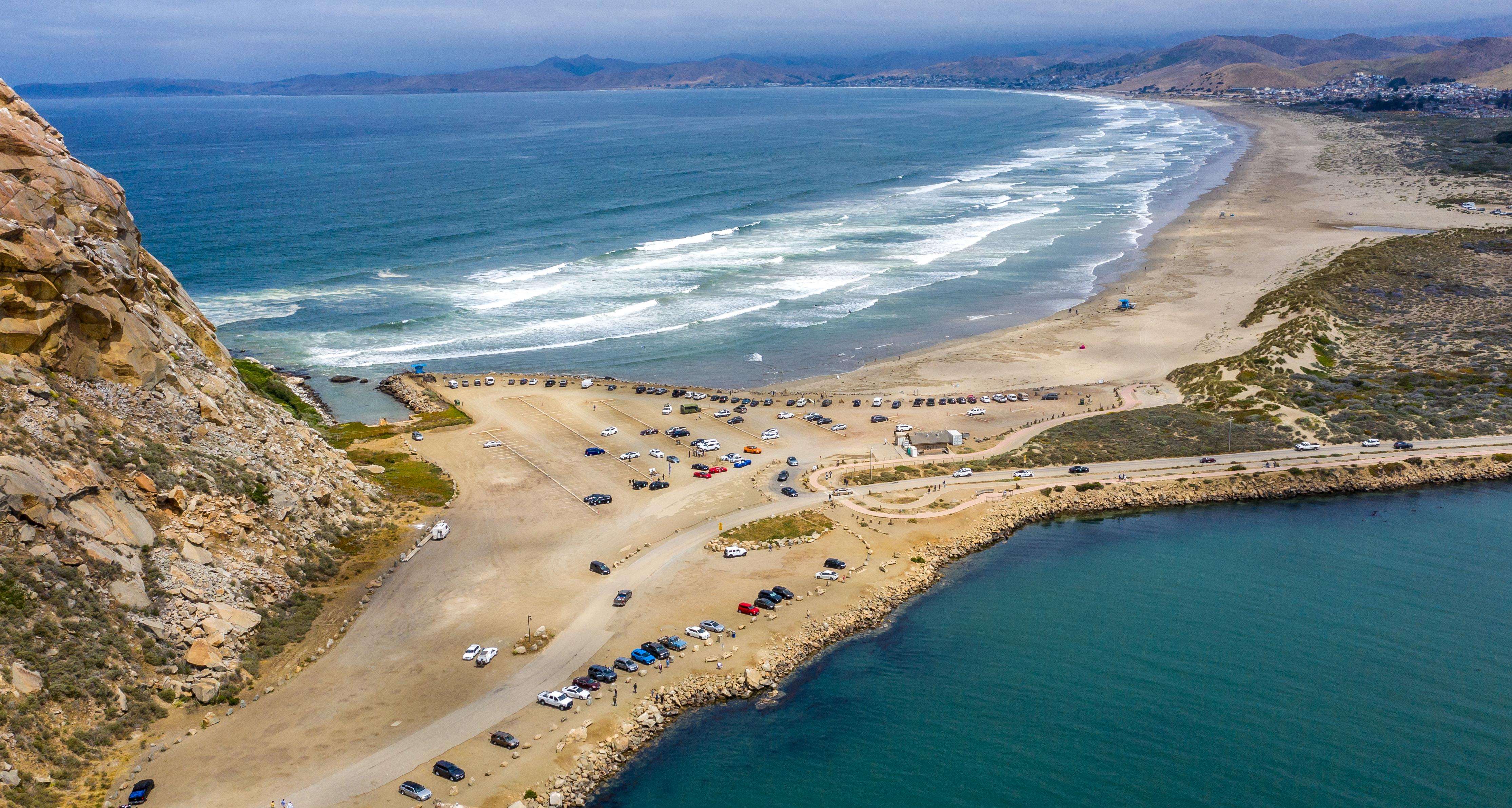 Aerial view of Morro Rock in Morro Bay, Calif.