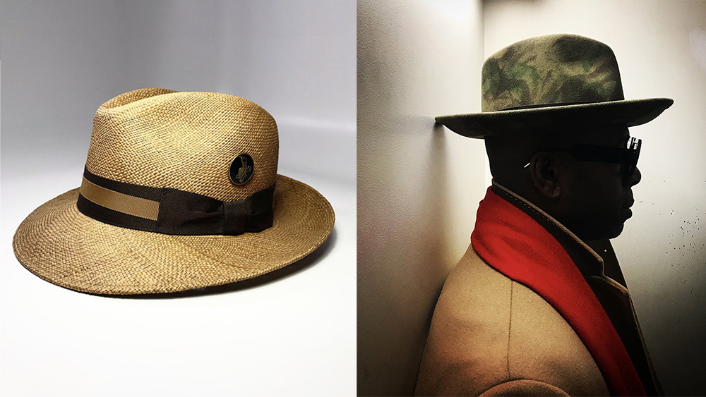 Two of FlameKeepers Hat Club's signature styles: a straw Panama hat and felt fedora.