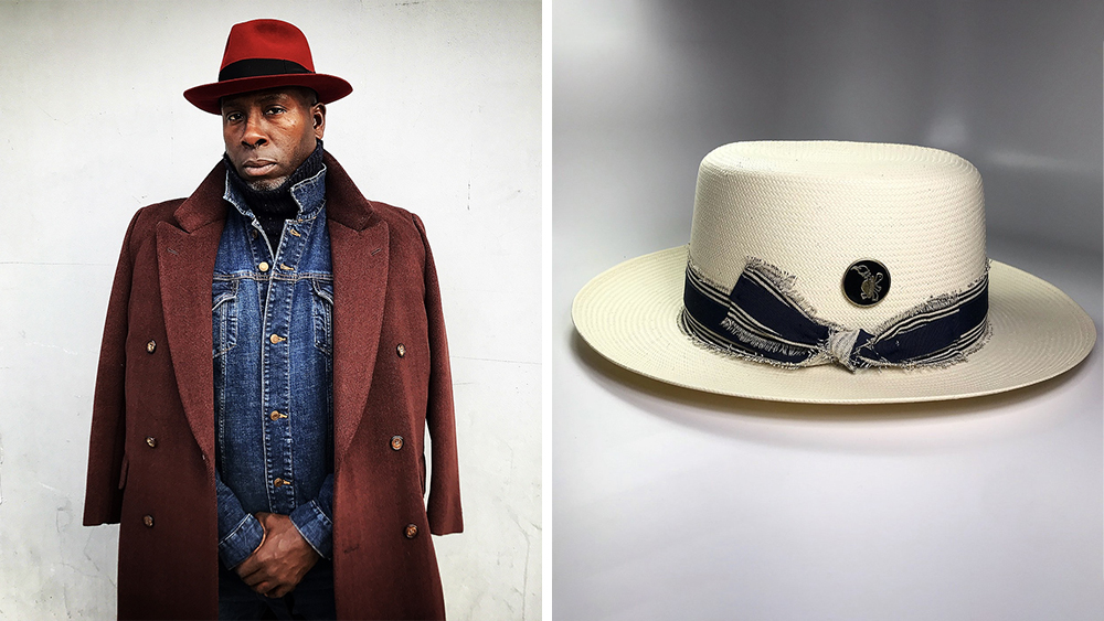 Two FlameKeepers spins on classics: a model wearing a felt fedora and a flat-top Panama hat with a distressed band.