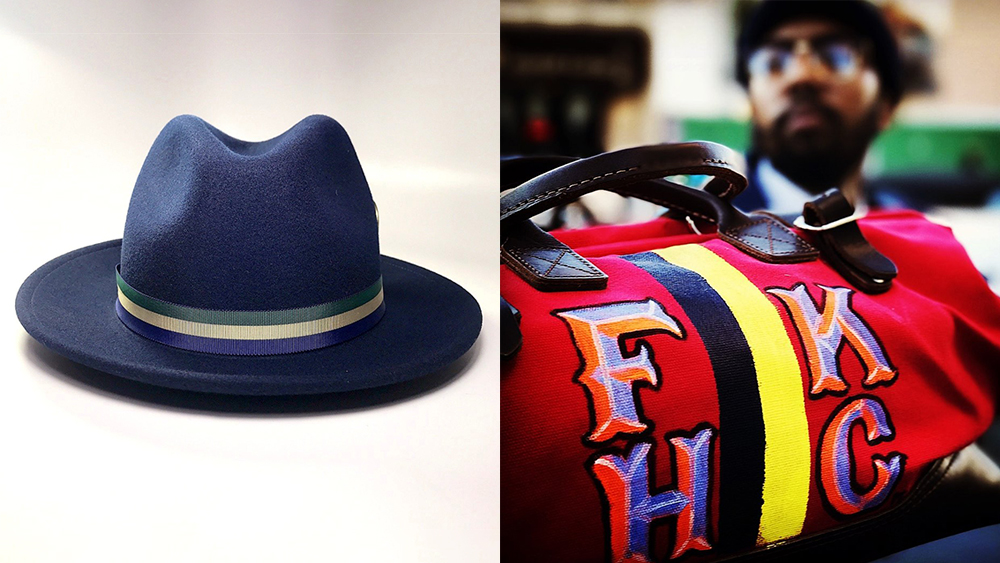 One of FlameKeepers Hat Club's felt fedoras and a handpainted duffel bag with the shop's monogram.