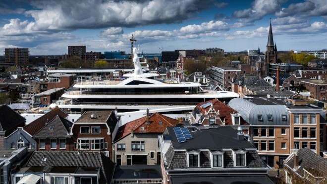 Superyachts often have to travel by narrow canals, roads and rivers to reach their final destinations.