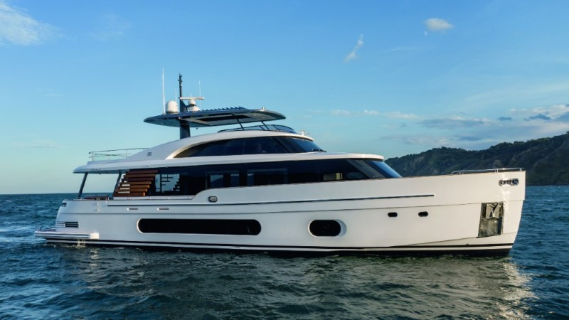 The 25 Metri Magellano from Azimut also made its public debut in Europe at the Venice boat show.