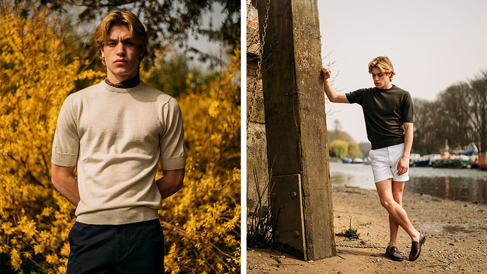 A model wears the merino sport shirt in cream and in navy.