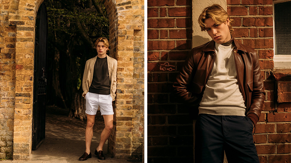 A model wears the merino sport short layered under a soft sport coat and a leather jacket.