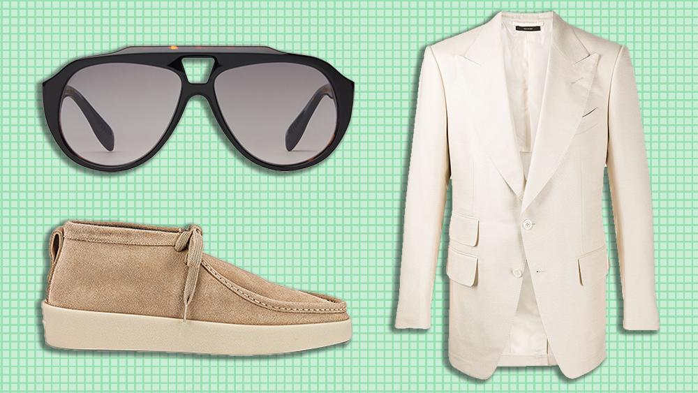F.E. Castleberry sunglasses, Tom Ford blazer, Fear of God shoes
