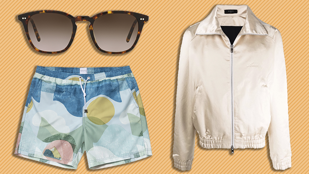 Oliver Peoples sunglasses, Amiri jacket, Sunspel swim shorts