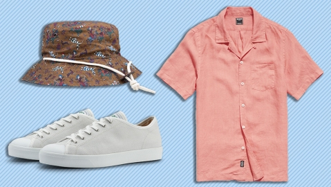 Drake's hat, Todd Snyder shirt, CQP sneakers