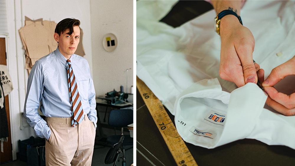 Jake Wigham in his signature OCBD and repp tie.