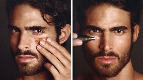 A model samples Tom Ford's men's makeup range.