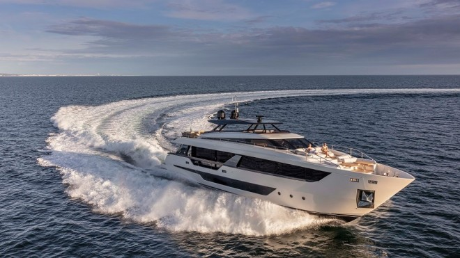The new Ferretti Yachts 1000 is the largest model the Italian brand has built with a huge interior, big social areas and fast hull