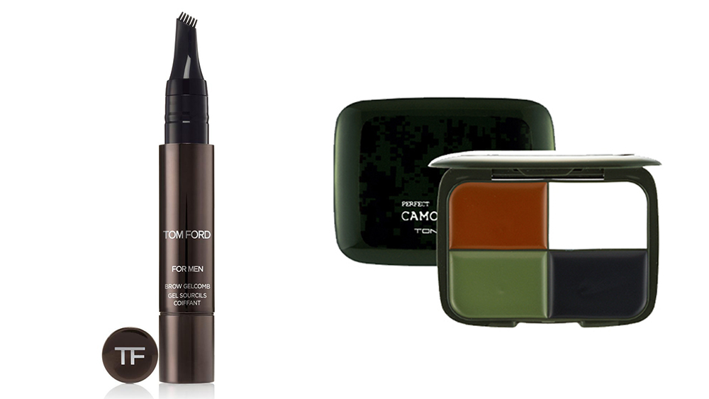 Tom Ford's brow gel-comb ($54) and Korean brand Tony Moly'sG9 Camo Cream for military-strength concealing.