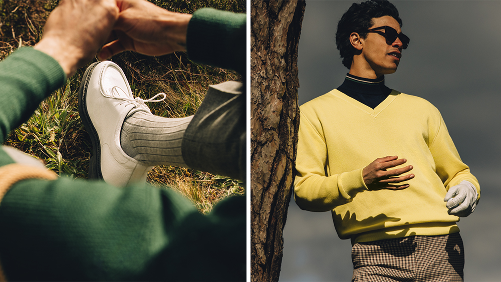 A model wears pieces from Mr P's golf collection, including golf shoes and a V-neck sweater.