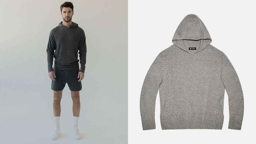 A model wears Active Cashmere's athletic attire, including its signature cashmere hoodie.