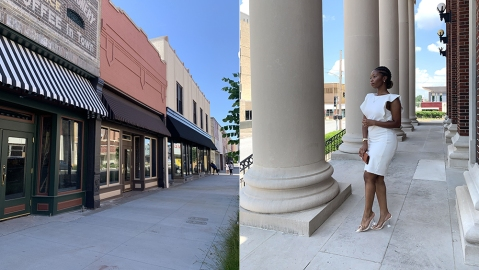 Above, a newly revitalized downtown Pine Bluff, Arkansas and Angelica Perkins-Walton, who believes the town is the perfect location for a new Black Wall Street.