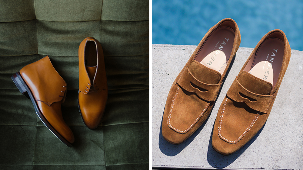 A forthcoming chukka boot style and Tangier's suede flex loafers ($355).