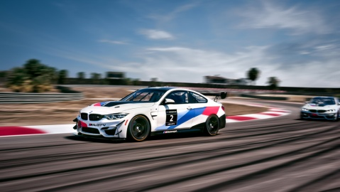 The BMW M4 GT4 at the Thermal Club private racetrack in Thermal, Calif.