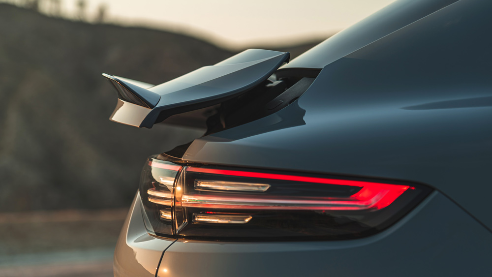 A detail of the rear spoiler on the 2022 Porsche Cayenne Turbo GT.