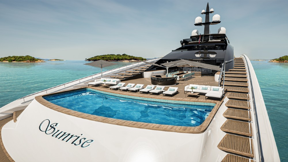 Project Sunrise is the world's largest open day boat in a gigayacht size.