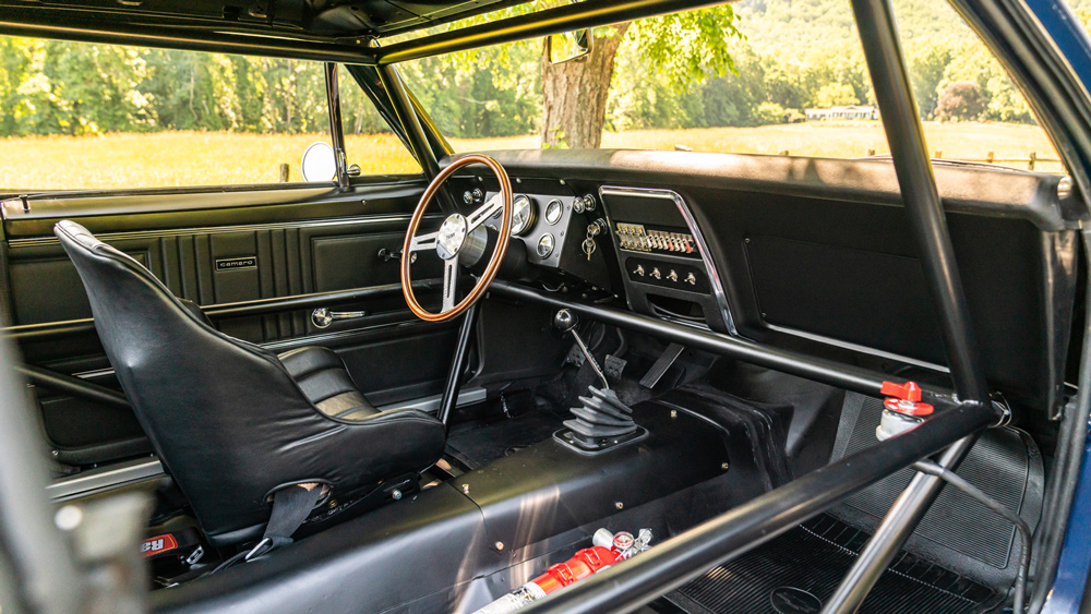 The race-focused cockpit of a 1967 Chevrolet Camaro Z/28 Trans Am.