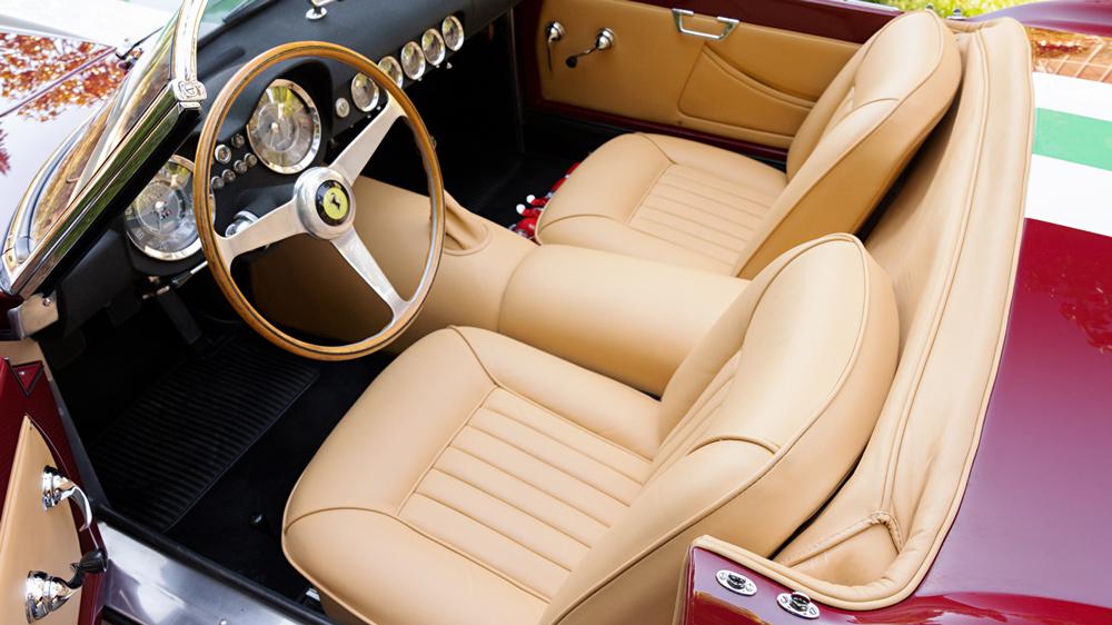 The interior of a 1959 Ferrari 250 GT LWB California Spider Competizione.