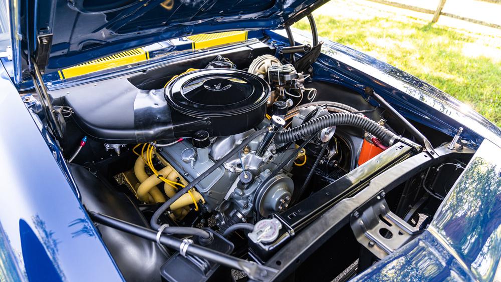 The small-block V-8 inside a 1967 Chevrolet Camaro Z/28 Trans Am.