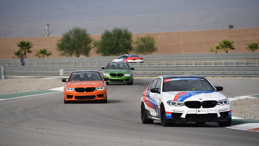 BMWs on the track at the Thermal Club in Thermal, Calif.