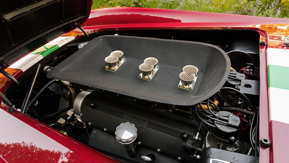 The engine inside a 1959 Ferrari 250 GT LWB California Spider Competizione.