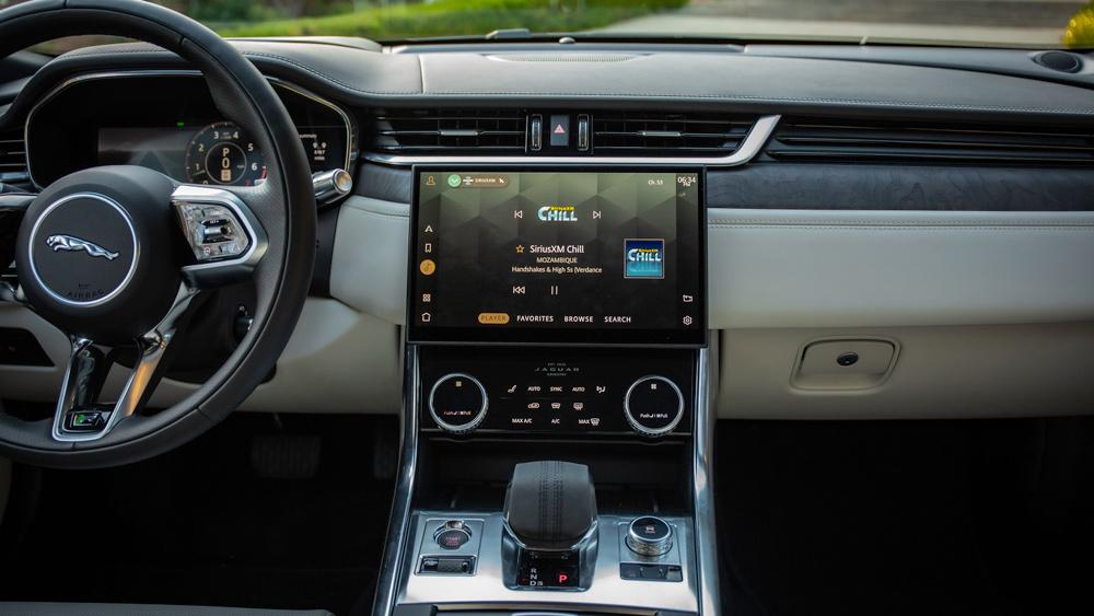 The interior of the 2021 Jaguar XF sedan.