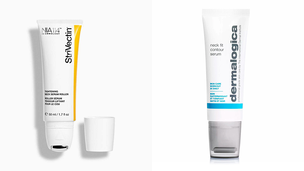 Neck grooming products from Strivectin and Dermalogica