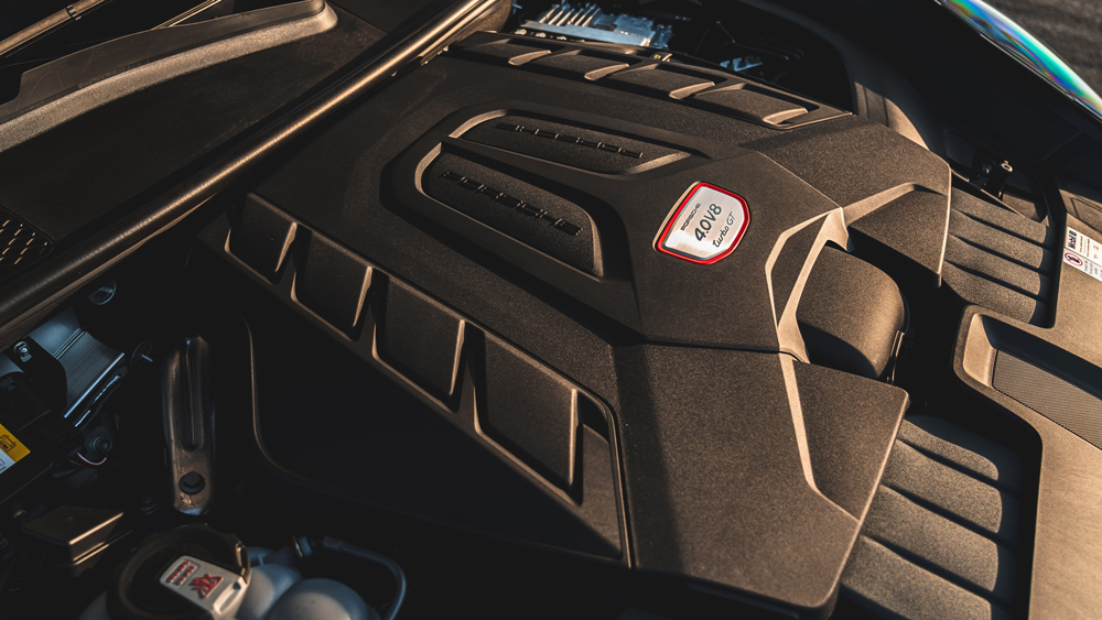 The engine inside the interior of the 2022 Porsche Cayenne Turbo GT.