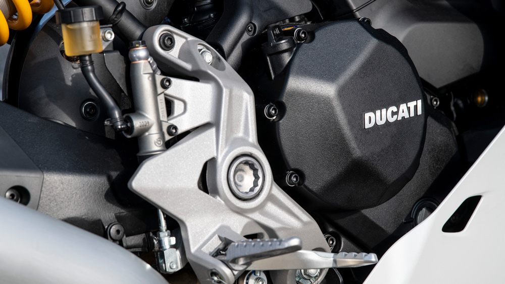 The engine of the 2021 Ducati SuperSport 950 S sportbike.