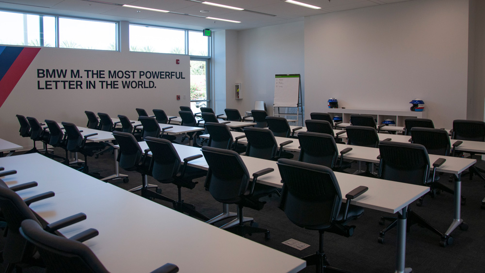 A meeting room at BMW's Performance Center West in Thermal, Calif.