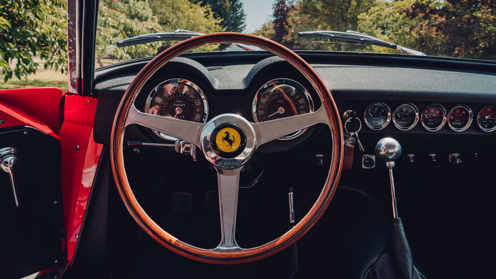 The interior of GTO Engineering's hand-built Revival, a reimagined classic Ferrari.