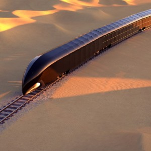 The G Train is a 14-car, high-tech train with a glass exterior that is designed to travel around the world.
