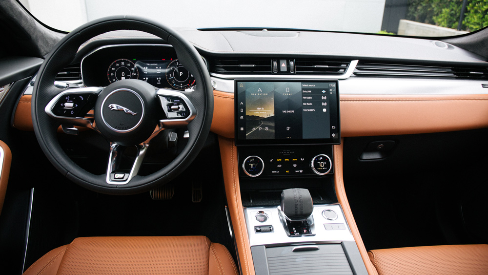The interior of the 2021 Jaguar F-Pace SUV.