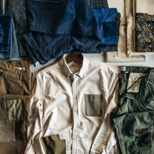 The range of upcycled pieces in the Taylor Stitch x Atelier & Repairs collection.