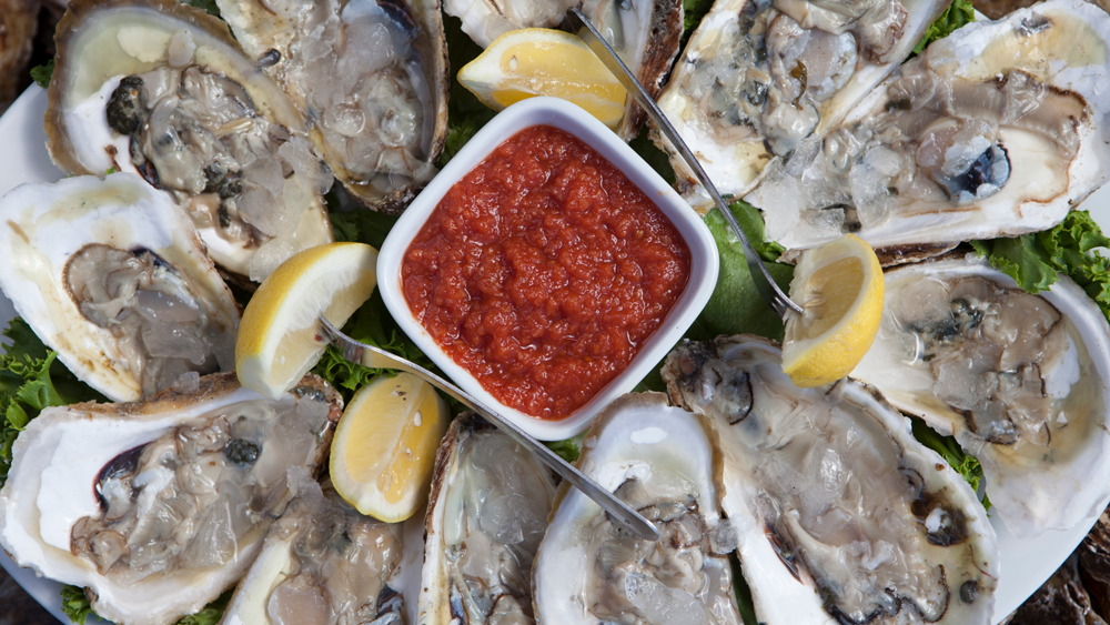 Oysters with cocktail sauce